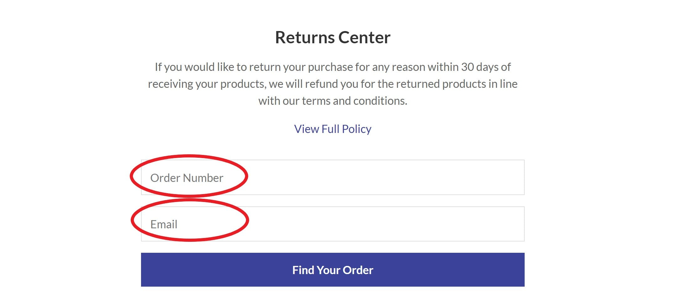 returns find your order