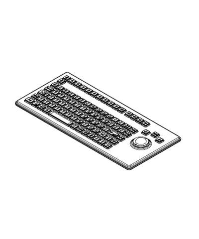 Photo of Hatteland Panel Mount Backlit US Layout Keyboard with 25mm Trackerball & USB