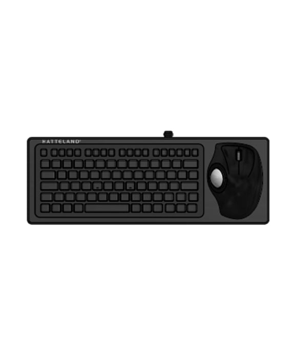 Photo of Hatteland Panel Mount Backlit US Layout Keyboard with 38mm Ergonomical Trackerball & USB