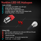 Yorkim Super Bright 3157 LED Light Bulbs Red, 3056 3156 3156A 3057 4057 3157 4157 T25 LED Bulbs for Brake Lights, Backup Reverse Lights, Reverse Tail Lights - Pack of 4