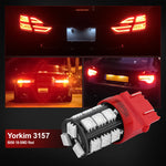 Yorkim Super Bright 3157 LED Light Bulbs Red, 3056 3156 3156A 3057 4057 3157 4157 T25 LED Bulbs for Brake Lights, Backup Reverse Lights, Reverse Tail Lights - Pack of 10
