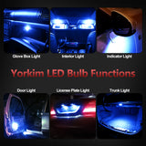 Yorkim Newest T10 LED Bulb Canbus Error Free 6-SMD Super Bright EMC Chipsets, 194 Interior LED For Car Dome Map Door Marker License Plate Trunk lights 168 W5W 2825 Sockets Pack of 10, blue