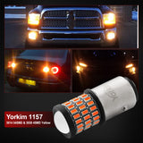 Yorkim Super Bright 1157 LED Bulbs Amber, 1157 Brake Light Bulb, 9-30V 1157 2057 2357 7528 BAY15D LED Bulb with Projector Replacement for Back Up Reverse Lights or Tail Lights - Yellow