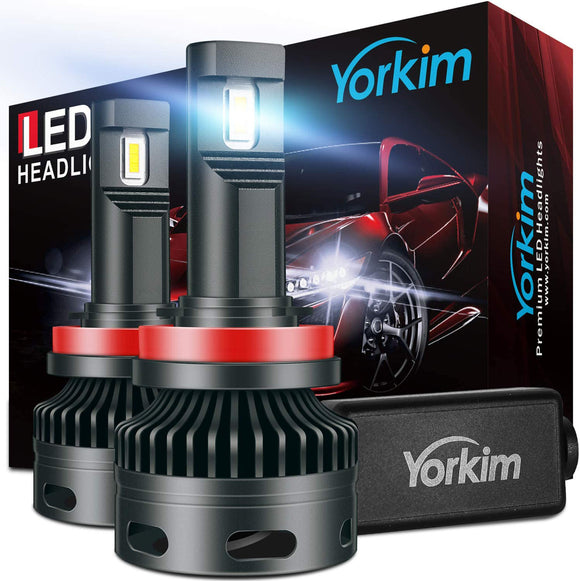 Yorkim H11 Led Headlight Bulbs, Canbus Ready 16000LM Bright Headlight LED Bulb H8/H9/H11 Led Waterproof Headlight Bulb with Silent Turbo Cooling Fan, 6500K Xenon White, Pack of 2