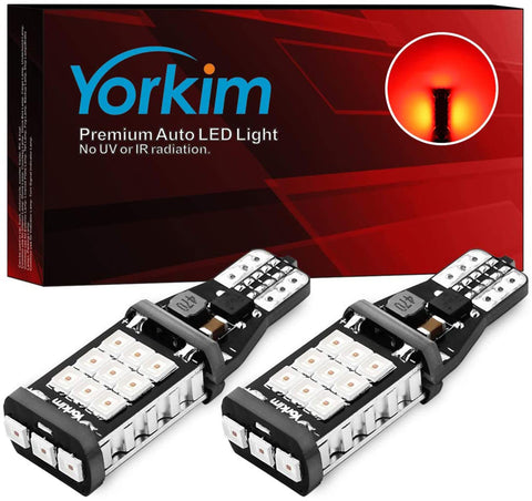 Yorkim 921 LED Bulb Error Free T15 Reverse Backup Light 912 906 904 902 W16W bulb, Pack of 2 (Red)