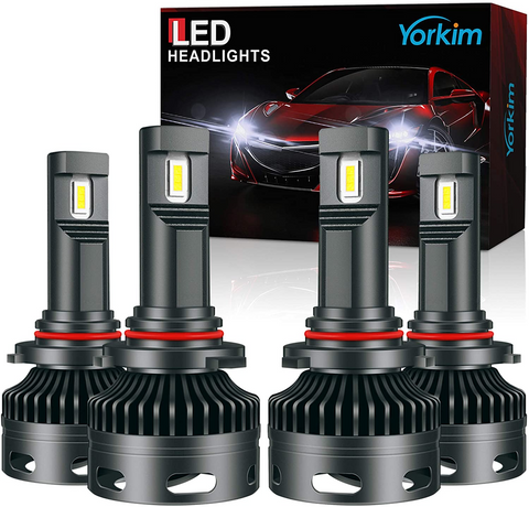 Yorkim 9005 9006 LED Headlight Bulbs combo 9005/HB3 High Beam LED Headlights 9006/HB4 Low Beam LED Headlights