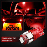 194 LED Light bulb, Yorkim 5th, Interior Lights for W5W 168 2825 T10 Wedge 5-smd 5050 Red Bulb