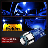 194 LED Light bulb, Yorkim 5th, Interior Lights for W5W 168 2825 T10 Wedge 5-smd 5050 Blue Bulb