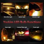 Yorkim Newest T10 LED Bulb Canbus Error Free 6-SMD Super Bright EMC Chipsets, 194 Interior LED For Car Dome Map Door Marker License Plate Trunk lights 168 W5W 2825 Sockets Pack of 10, amber