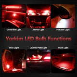 Yorkim Newest T10 LED Bulb Canbus Error Free 6-SMD Super Bright EMC Chips, 194 Interior LED for Dome Map Door Marker License Plate Trunk Lights 168 W5W 2825 Sockets Pack of 10, red