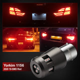 Yorkim 1156 LED Bulb 12V-40V Extremely Brigh 3000 Lumens BA15S 1003 1141 7506 LED Bulb For Backup Reverse Light,Tail Light, Brake Light, Red, Pack of 2