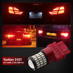 Yorkim Ultra Bright 3157 LED Bulb Amber, 3157 LED Brake Lights, 3157 LED Backup Reverse Lights, 3156 LED Tail Lights with Projector - 3056 3156 3156A 3057 4057 3157 4157 T25 LED Bulbs, Pack of 4