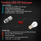 Yorkim 1157 LED Bulb 2057 2357 7528 BAY15D for Brake,Back Up,Reverse,Tail Lights, Pack of 2 (Red)