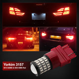 Yorkim Super Bright 3157 LED Bulb Red, 3157 Red LED Brake Lights, 3157 LED Backup Reverse Lights, 3156 LED Tail Lights, Turn Signal Bulb with Projector - 3056 3156 3057 3157 4157 LED Bulbs, Pack of 2