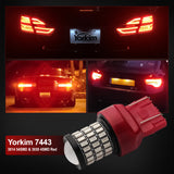 Yorkim Ultra Bright 7440 Led Bulb Red T20 7441 7443 7444 W21W Led Bulb for Backup Reverse Light, Break Light, Tail Light, Turn Signal Light Pack of 2 - Red