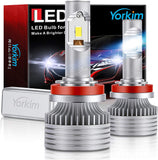 Yorkim H11 LED Headlight Bulbs Upgraded, H11/H8/H9 LED Headlights Conversion Kit, Pack of 2 (White)