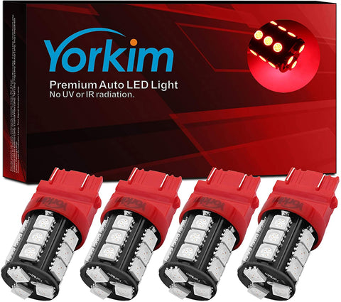 Yorkim 3157 LED Light Bulbs, 3056 3156 3156A 3057 4057 4157 T25 for Reverse Tail Lights, Pack of 4 (Red)