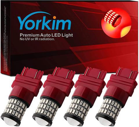 Yorkim 3157 Led Bulb, Backup Reverse Light 3156 3056 3057 4057 4157 T25, Pack of 4 (Red)