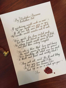 Handwritten letter - On Off White Paper