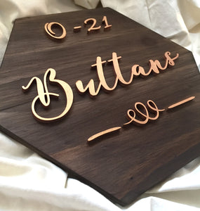 Hexagon Nameplate - Surname