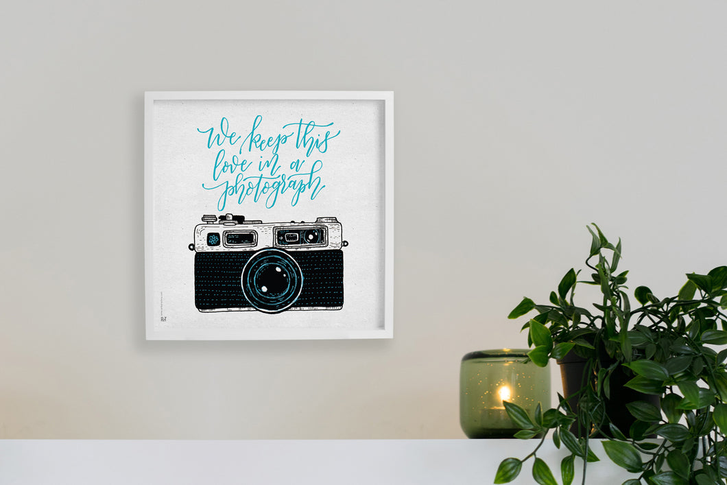 Square framed poster - We keep this love in a photograph
