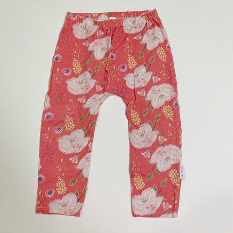 Pink Floral Leggings - Size 2