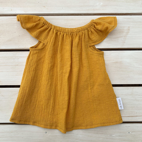Mustard Cheesecloth Flutter Top