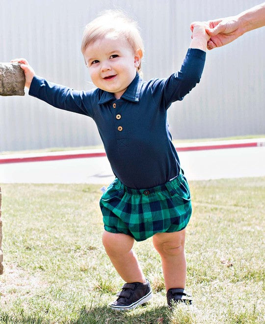 Navy and Emerald Buffalo Plaid Bloomers