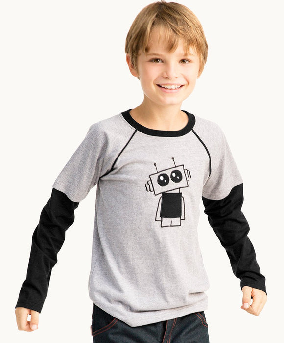 Grey Robot Long Sleeve T-Shirt
