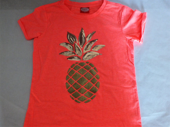Fluorescent Orange Golden Pineapple T-Shirt