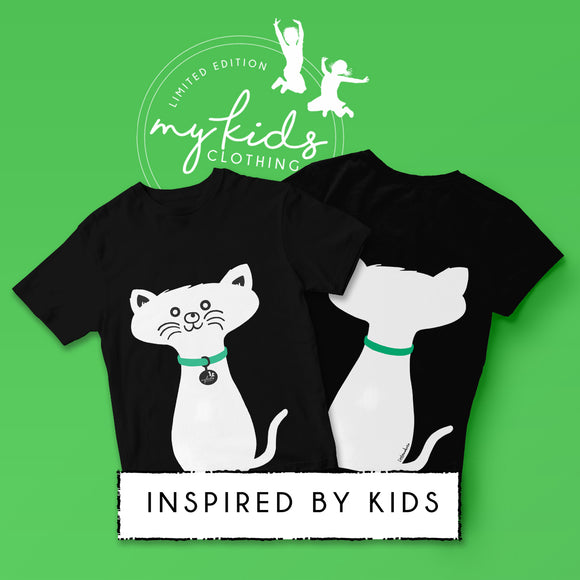 Limited Edition - Kids Cat T-Shirt -  Teal Green Collar
