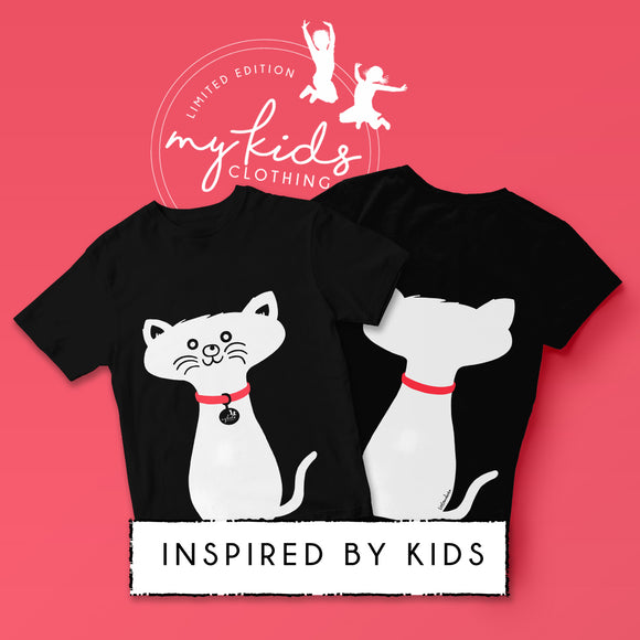 Limited Edition - Kids Cat T-Shirt - Cherry Red Collar