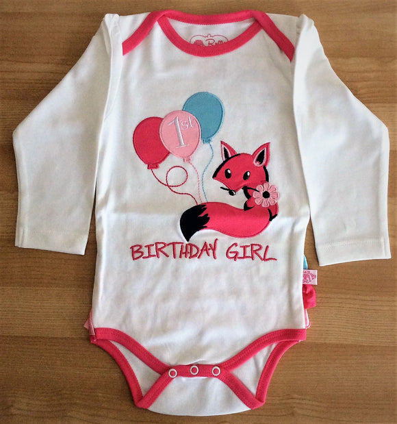 Fox Birthday Girl Long Sleeve Bodysuit