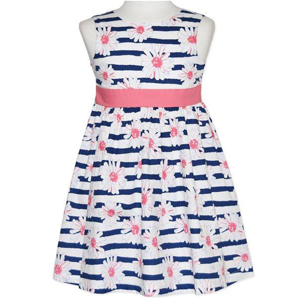 Navy and White Stripe Floral Dress