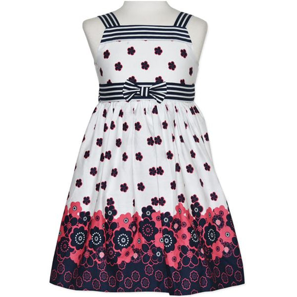 Navy Floral and Stripe Bow Dress