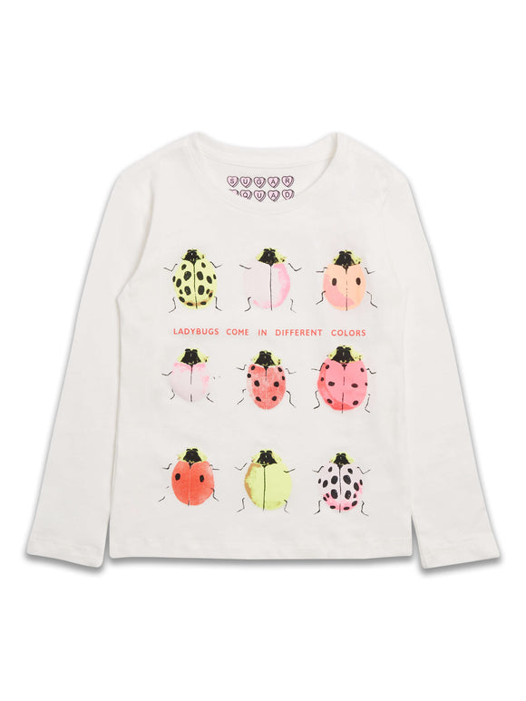 White Ladybird Long Sleeve T-Shirt