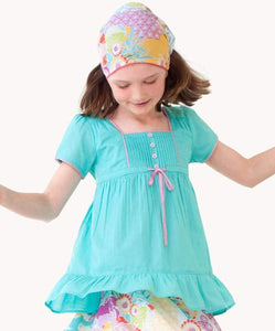 Aqua Pintuck Blouse.  Eternal Creation.  My Kids Clothing.  Ethically Made.  Sizes 6 8 10 12