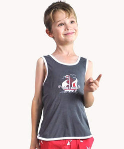 Charcoal Galleon Boat Tank.  Eternal Creation. Size 2 4 6.  Ethically Made.  Organic cotton.  My kids clothing.