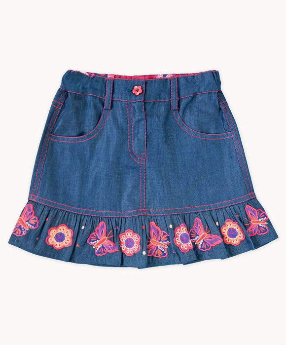 Denim Butterfly and Flower Applique Skirt (Sizes 4-10)