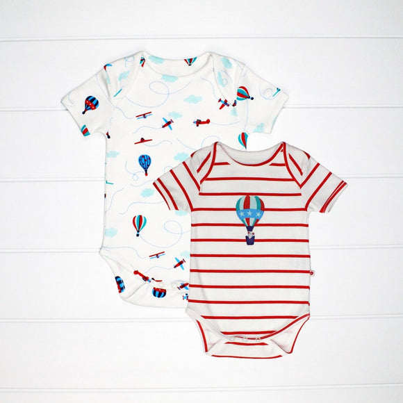 Fly in The Sky. 2 Pack Set. Bodysuit.  Piccalilly. Organic cotton. Ethically made. My Kids Clothing.