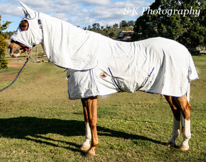 300 GSM Diamond Weave Ripstop Poly Cotton Hooded Combo Horse Rug