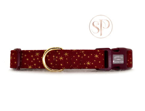 Gold Stars Collar - Red
