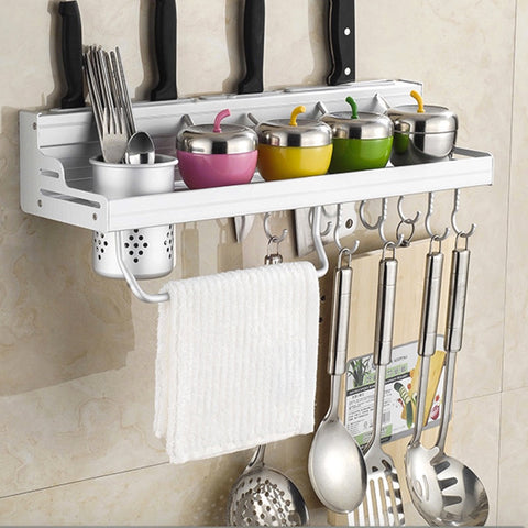 6-in-1 Kitchen Storage Shelf with Silverware & Bottle Holder