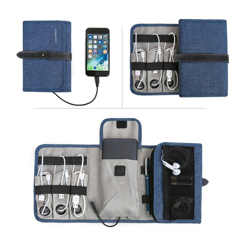 Portable Digital Accessories Organizer & USB Cable Charger