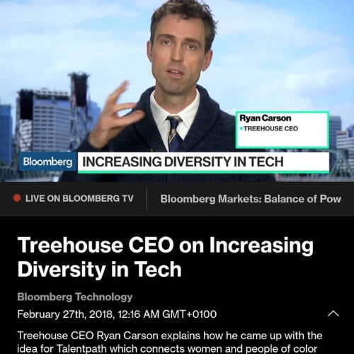 Ryan Carson wearing DULO during an interview on Bloomberg TV