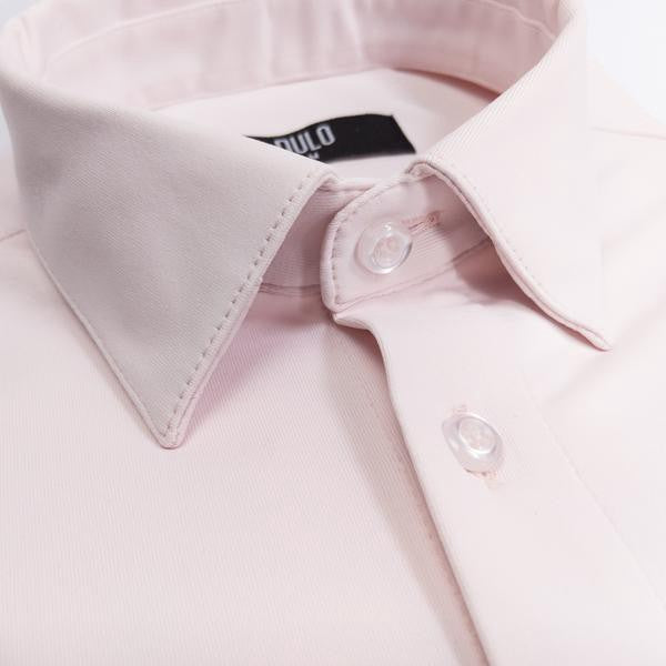 DULO Pink dress shirt from performance fabrics. Non-iron, wrinkle resistant, machine washable, 4 way stretch.