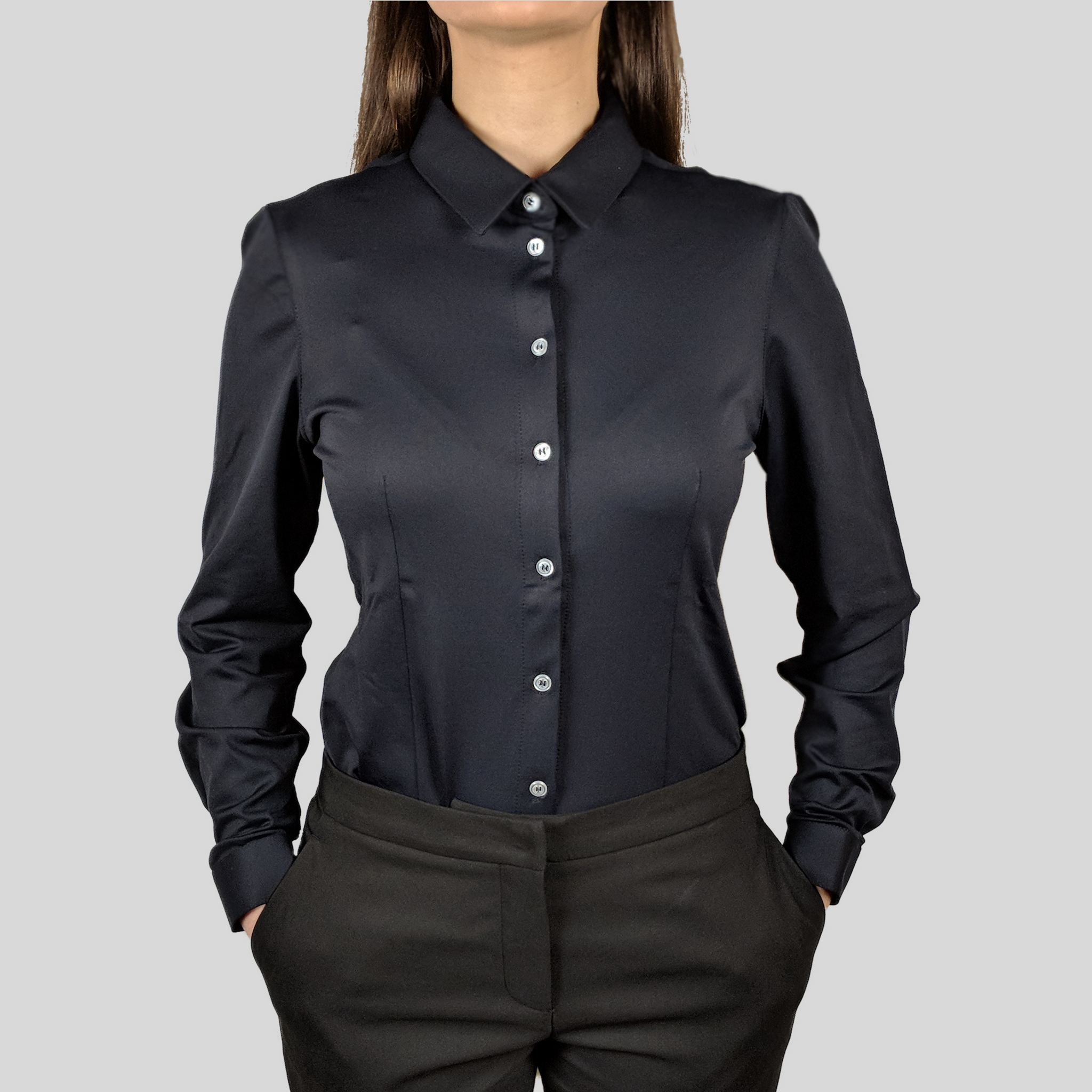 Origins Black for women dress shirt from advanced fabrics by DULO