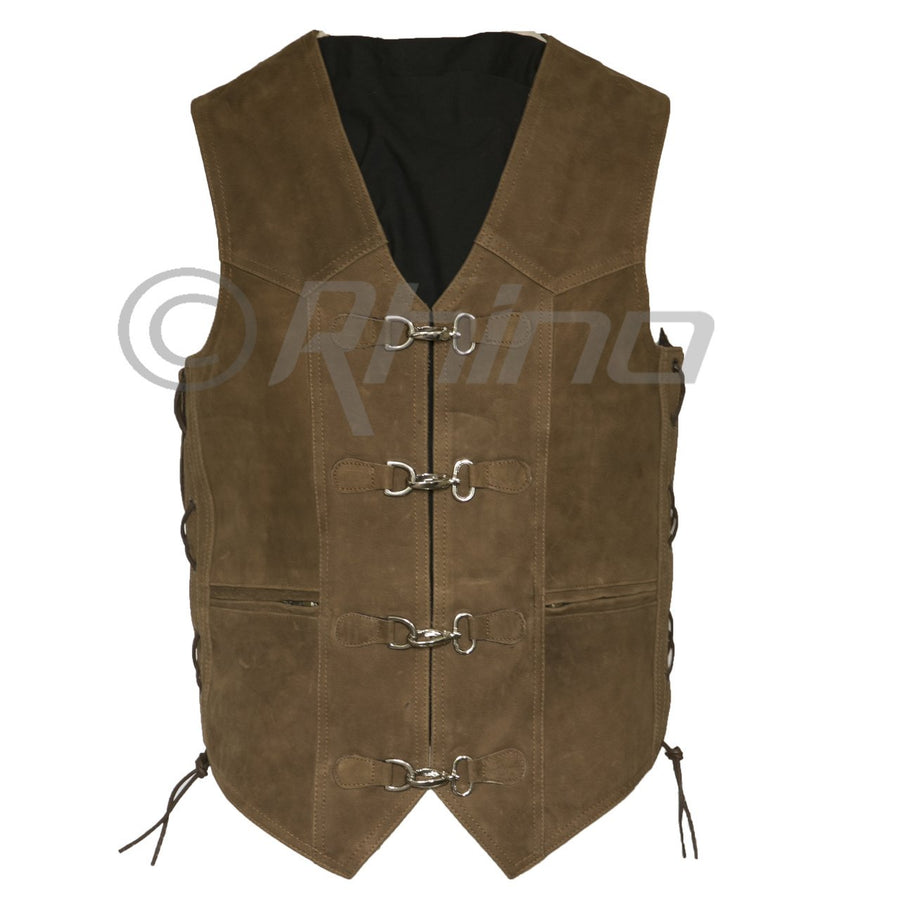 MAVERICK BROWN LEATHER VEST WITH METAL CLASPS
