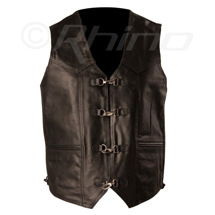 MAVERICK LEATHER VEST WITH METAL CLASPS