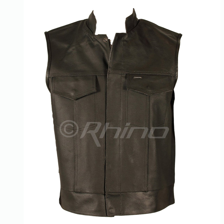 SONS OF ANARCHY STYLE LEATHER VEST - BLACK